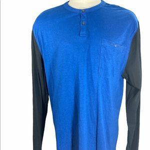 Mens Calvin Klein Jeans Raglan Henley Long Sleeve T Shirt Blue black Size 3XL